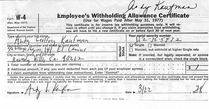 Andy kaufman death certificate